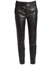 Saint Laurent - Smoking Leather Biker Trousers - Lyst