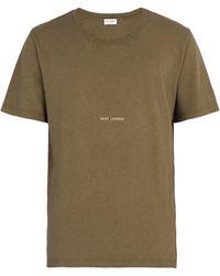 Saint Laurent - Logo Print Distressed T Shirt - Lyst