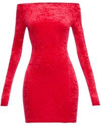 Balenciaga サイクリングショーツ ベルベットドレス - レッド