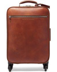 Brunello Cucinelli グレインレザー キャリーオンスーツケース - ブラウン