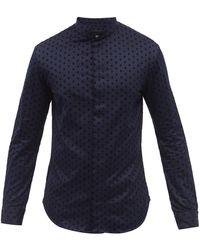 Giorgio Armani Diamond-flocked Collarless Cotton Poplin Shirt - Blue