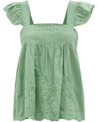 Juliet Dunn Ruffle-sleeve Floral-embroidered Cotton Top - Green