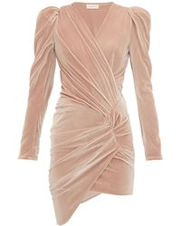Alexandre Vauthier Puff-sleeve Wrap-style Velvet Mini Dress - Natural
