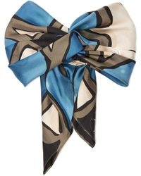 Maison Michel Bora Abstract Print Silk Knotted Headband - Multicolor