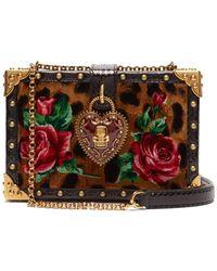 ed4514bdbac7 Dolce   Gabbana - Leopard Print My Heart Velvet Box Clutch Bag - Lyst