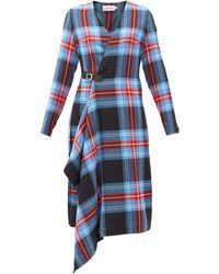 Charles Jeffrey LOVERBOY チェック ウールラップドレス - ブルー