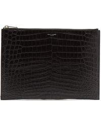 Saint Laurent - Crocodile-effect Leather Pouch - Lyst