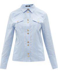 Balmain Striped Cotton-poplin Shirt - Blue