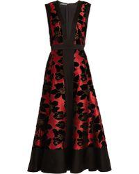 Alexander McQueen - Deep V-neck Flocked And Jacquard Dress - Lyst