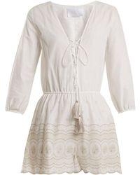 Athena Procopiou - Sunday Morning Lace-up Cotton Playsuit - Lyst