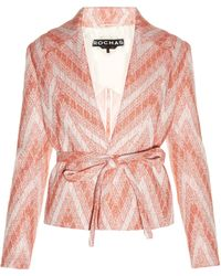 Rochas | Chevron-woven Tweed Jacket | Lyst