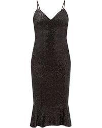 Norma Kamali マーメイドヘム スパンコールジャージードレス - ブラック