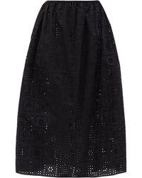 Matteau The Crochet Broderie オーガニックコットンスカート - ブラック