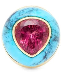 Retrouvai Lollipop Turquoise, Tourmaline & 14kt Gold Ring - Pink