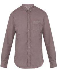 Officine Generale Lipp Cotton Shirt - Purple