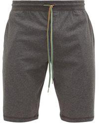 Paul Smith Striped Drawstring Cotton Jersey Pyjama Shorts - Gray