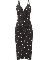 Dolce & Gabbana - ポルカドット ギャザークレープドレス - Lyst