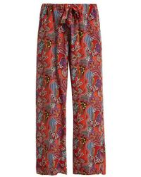 Etro - Abstract Floral-print Silk Trousers - Lyst