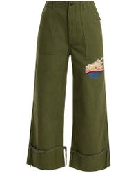 Bliss and Mischief - Sunset Embroidered Cropped Cotton Drill Trousers - Lyst