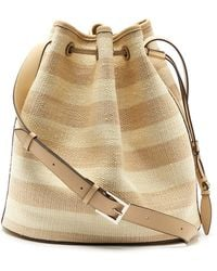 Hunting Season Striped Fique And Leather Bucket Bag - Natural