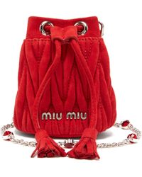 Miu Miu - Matelassé Micro Suede Bucket Bag - Lyst