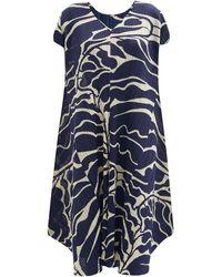 Pleats Please Issey Miyake リーフプリント ドレス - ブルー