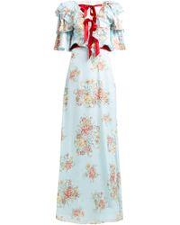 Rodarte - Ruffled Floral Print Silk Satin Gown - Lyst