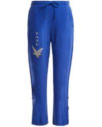 Maharishi Eagle-embroidered Silk Trackpants - Blue
