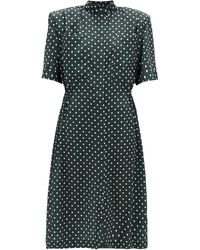 Vetements エグザジェレートショルダー ポルカドットシャツドレス - グリーン