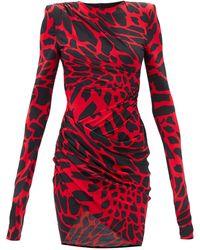 Alexandre Vauthier Giraffe-print Ruched Jersey Mini Dress - Red
