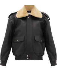 Raey Detachable Collar Leather Bomber Jacket - Black
