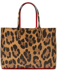 Christian Louboutin - Cabata Leopard Print Grained Leather Tote - Lyst