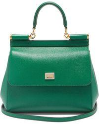 Dolce & Gabbana シシリー スモール グレインレザーバッグ - グリーン