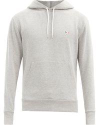 Maison Kitsuné Tricolour Fox-appliqué Cotton Hooded Sweatshirt - Grey