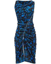 Atlein Asymmetric Camouflage-print Velvet Dress - Blue