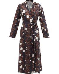 Emilia Wickstead Amana Floral-print Cotton Midi Robe - Black