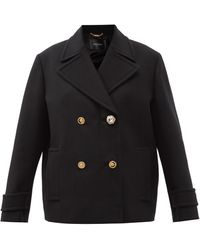Versace Crystal-button Double-breasted Wool Coat - Black