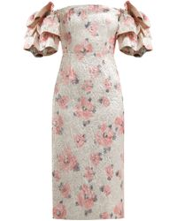 ALEXACHUNG Robe à manches superposées en cloqué floral - Rose