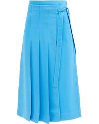 Valentino キャディクチュール プリーツ シルクスカート - ブルー