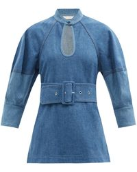 Chloé Belted Two-tone Denim Top - Blue