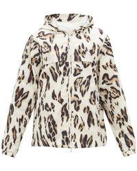 2 Moncler 1952 Leopard-print Hooded Windbreaker Jacket - Multicolour