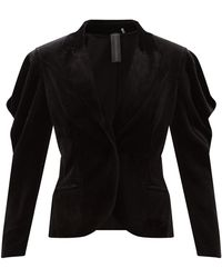 Norma Kamali ウィング ベルベットジャケット - ブラック