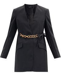 Givenchy チェーンベルト ウールクレープ スーツジャケット - ブラック