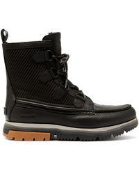 Sorel Atlis Caribou Leather Snow Boots - Black