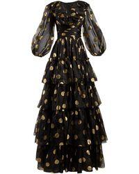 Dolce & Gabbana Polka Dot-print Tiered Silk-organza Gown - Black