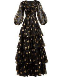 Dolce & Gabbana - Robe de soirée en organza de soie à volants - Lyst