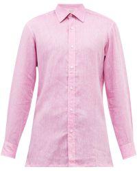 Charvet Semi-spread Collar Linen Shirt - Purple