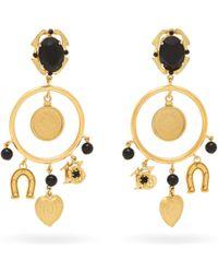 Dolce & Gabbana - Faux Onyx Hoop And Charm Earrings - Lyst
