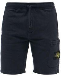 Stone Island Felpa-jersey Bermuda Shorts - Blue