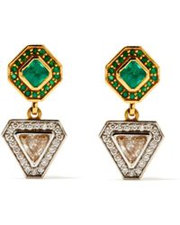 Jade Jagger Diamond, Emerald & 18kt Gold Earrings - Metallic